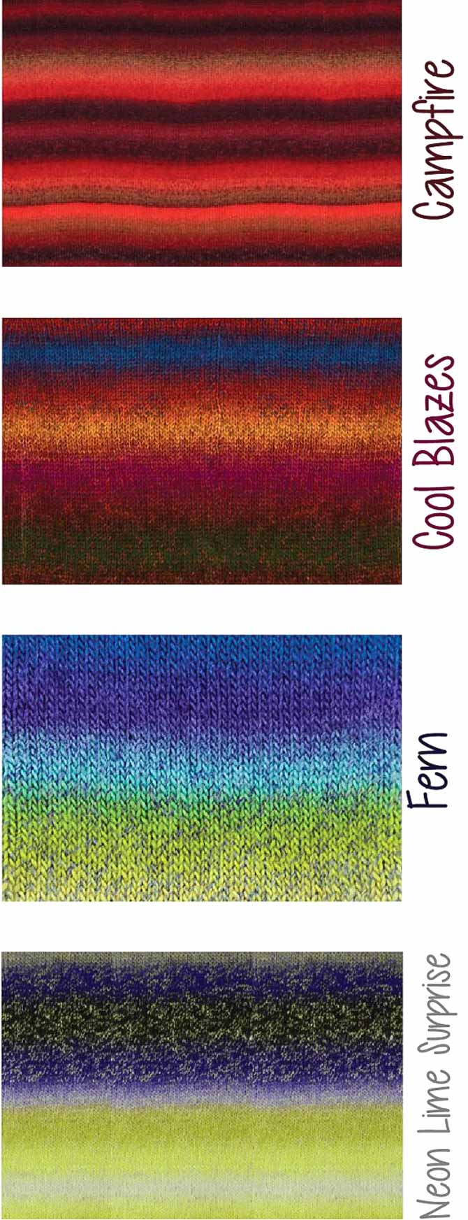 4 different swatches of Classic Shades yarn showing different patterns in the way the repeats are spaced