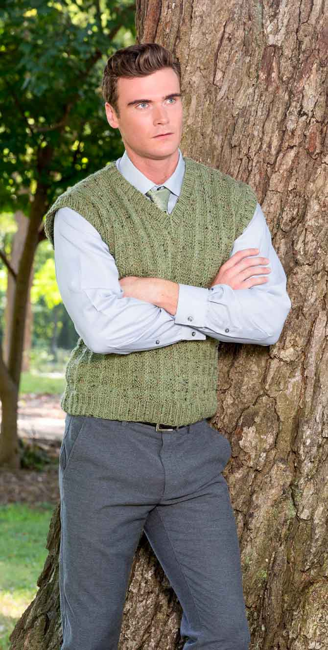 The Crawley Vest knitted up in the Matthew yarn of the new Downton Abbey Yarn Collection - Herb Green color