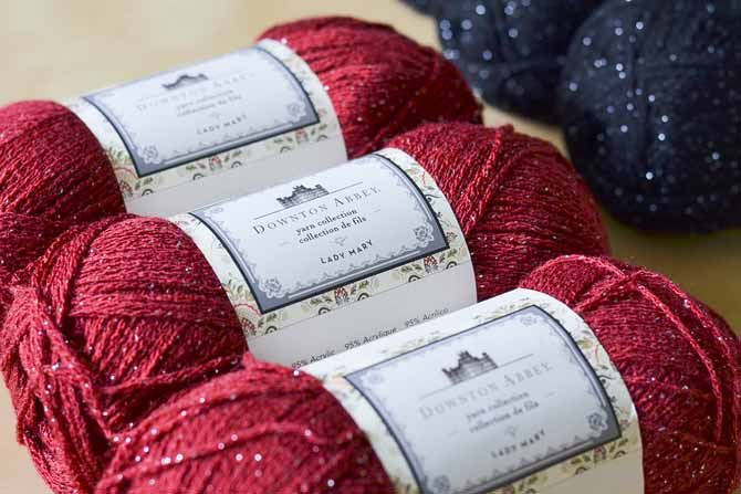 The Lady Mary yarn line includes sparkly threads woven through the yarn, for extra elegance!