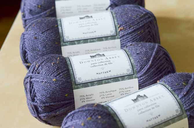 The Matthew yarn line is a tweedy blend including 25% wool, for a rustic tweedy effect.
