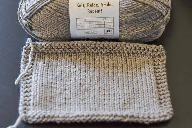 Swatch up your new yarns to see how they feel and knit up. This stockinette swatch shows neat stitch definition and an even drape.