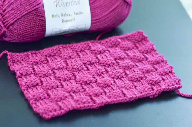 This basketweave pattern is a versatile stitch, great for blankets, scarves, or children's sweaters.