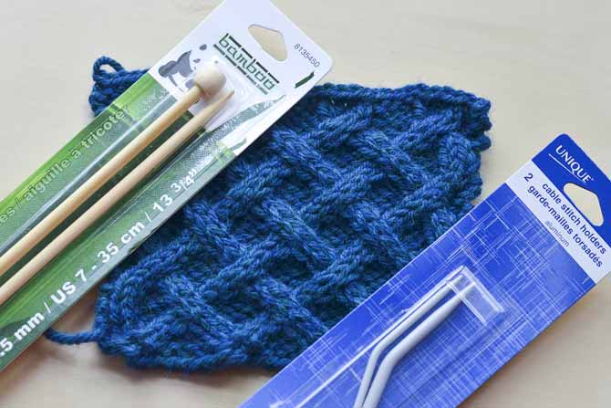 Practice four different cable stitches with this lovely lattice stitch.