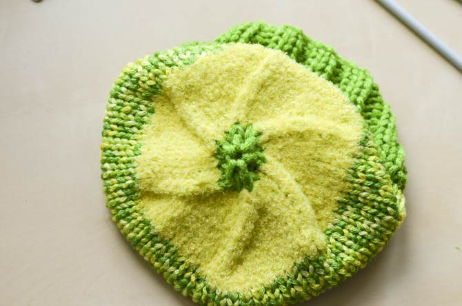 What the top of your hat will look like with all the finished decreases.