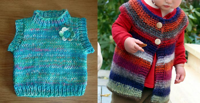 2 fast-to-knit children's tops in a bulky self-striping yarn.