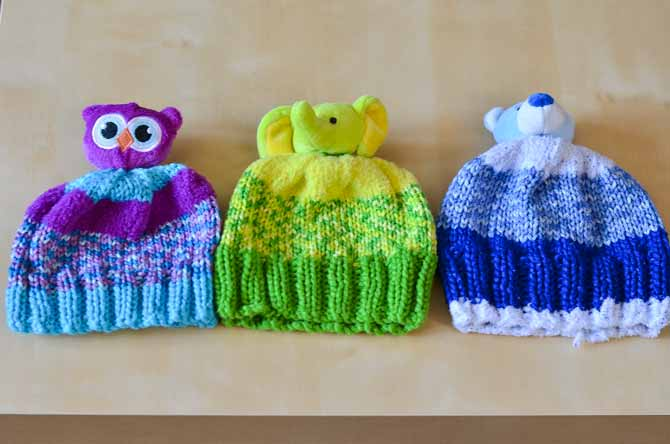 The same hat but different needle sizes!