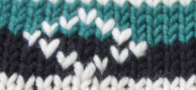 Close-up of duplicate stitch