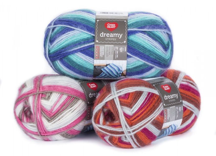 Red Heart Dreamy yarn Stripes