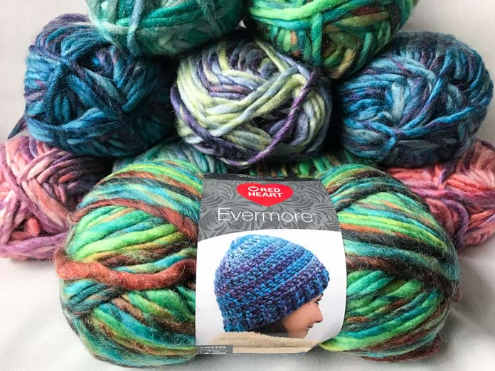 Evermore yarn in a variety of colors.