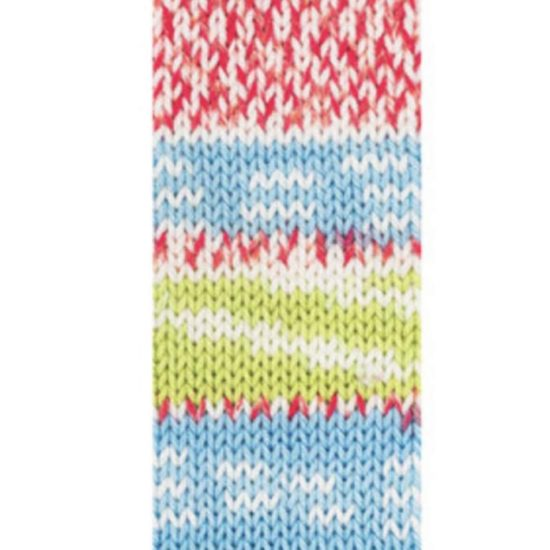 A swatch of what the color Winter looks like when a full pattern repeat is knit.