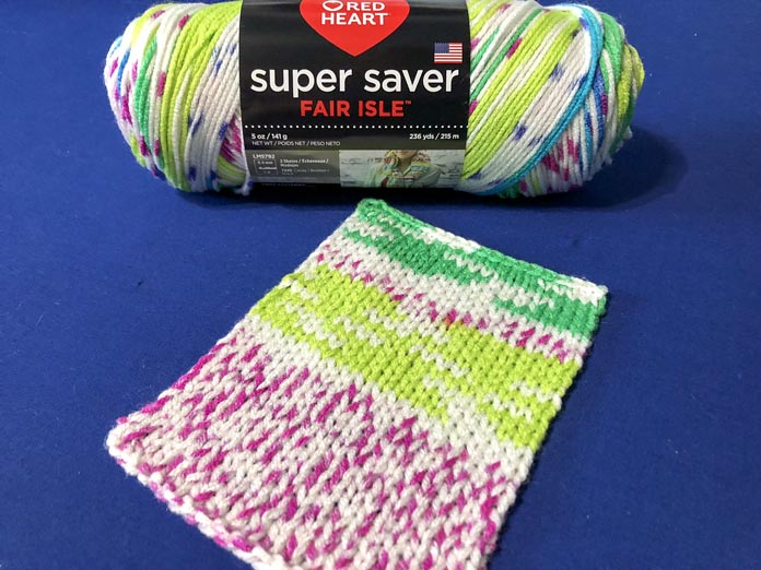 The color Parrott Fair Isle is bright and beautiful when knit up.
