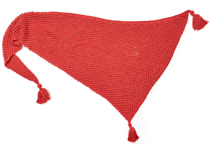 The finished product of the Fall Berries Shawl! Take note of the edging.