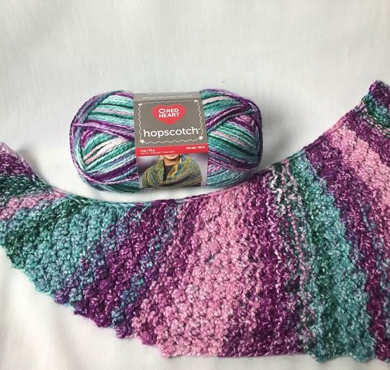 This unique shape is really catching on in newer shawl patterns. The curve causes it to hang on your shoulders nicely.