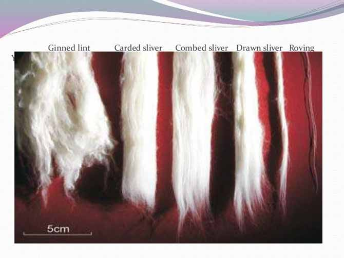 Examples of sliver before it is spun into yarn. Source: Slideshare.com Conversion of fibre into yarn by E. Raja