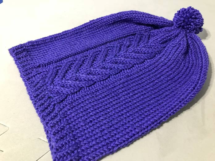 My finished product, post-blocking of course, in the color royal.