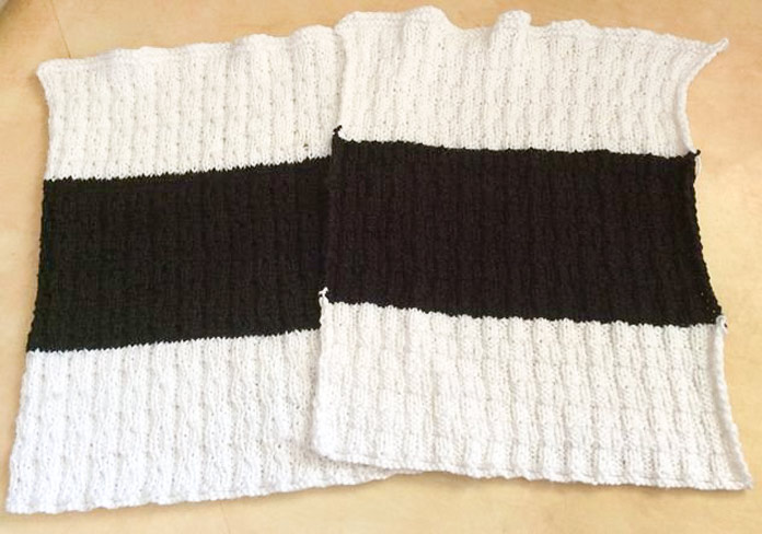 Two lovely pieces knit in Radiant Cotton, ready to transform into a pillow cover. Note the smooth color transitions.