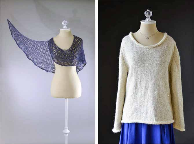 A lacy blue shawl is draped around a dressmaker's Judy in a photo on the left, and on the right is a cream colored sweater with a scooped neckline and long sleeves, also on a dressmaker's Judy