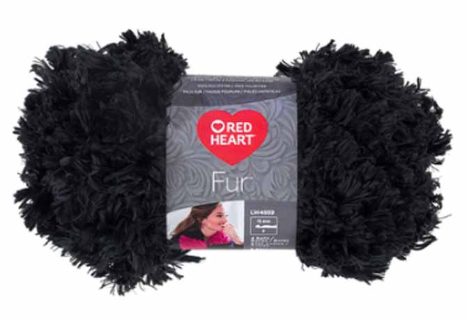 Red Heart's Fur yarn in the color slate, click on the image to check it out on their website!