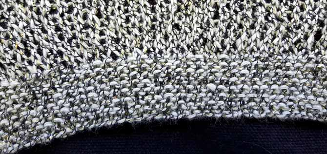 Garter stitch edging in Universe yarn