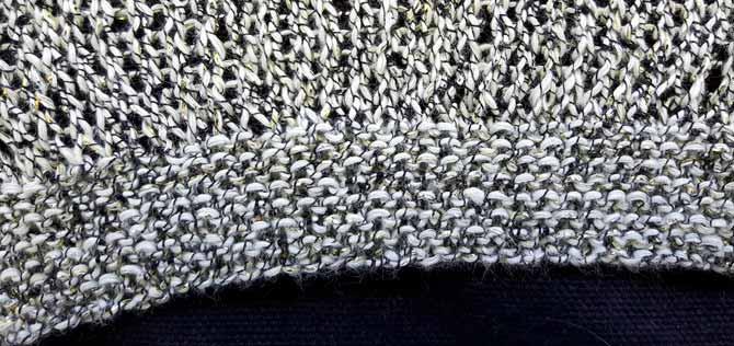 Garter stitch edging in Universe yarn