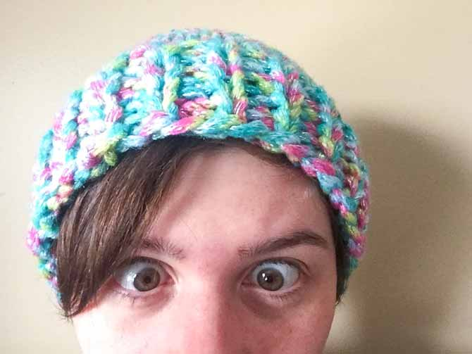 A simple hat pattern with Red Heart Boutique Twilight yarn.
