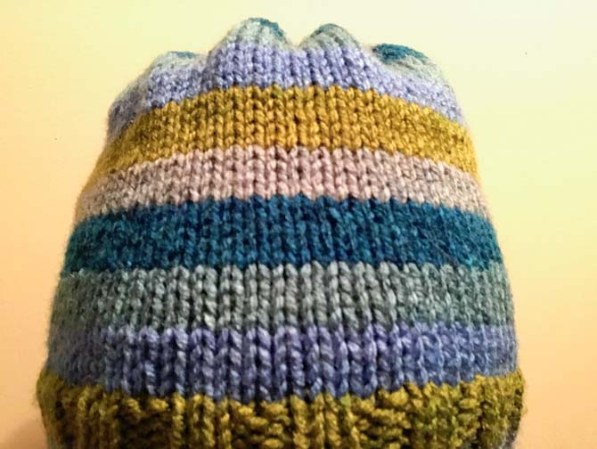 The finished product! The stripes look great in this hat pattern!
