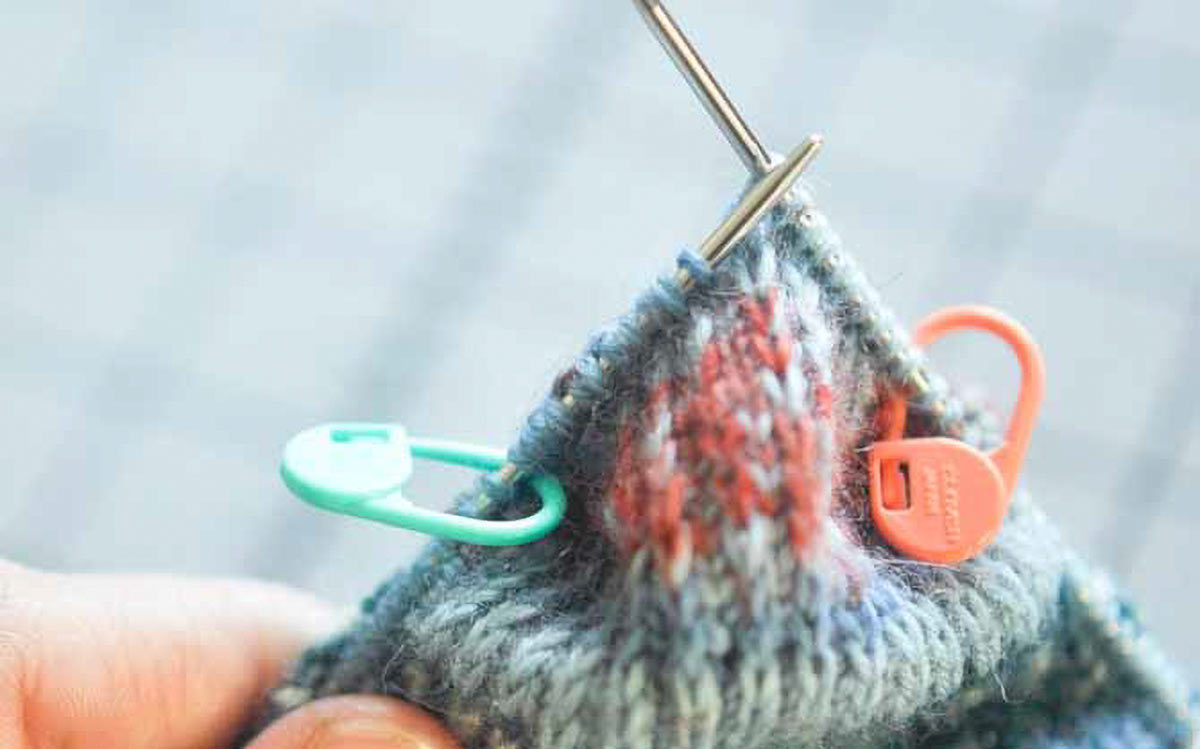 Stitch markers and good notes go a long way to making successful heel flaps (Photo by Knit the Hell Out)