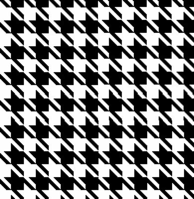 black and white pixel grid version of houndstooth motif