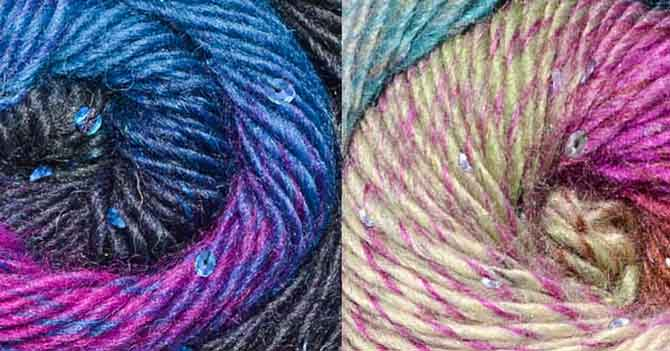 The Rainforest colorway consists of royal blue sequins and royal blue, navy, black and fuschia yarn. The Lucky Rose yarn has mother-of-pearl sequins and fuchsia, turquoise, mocha brown and pistachio green yarn.