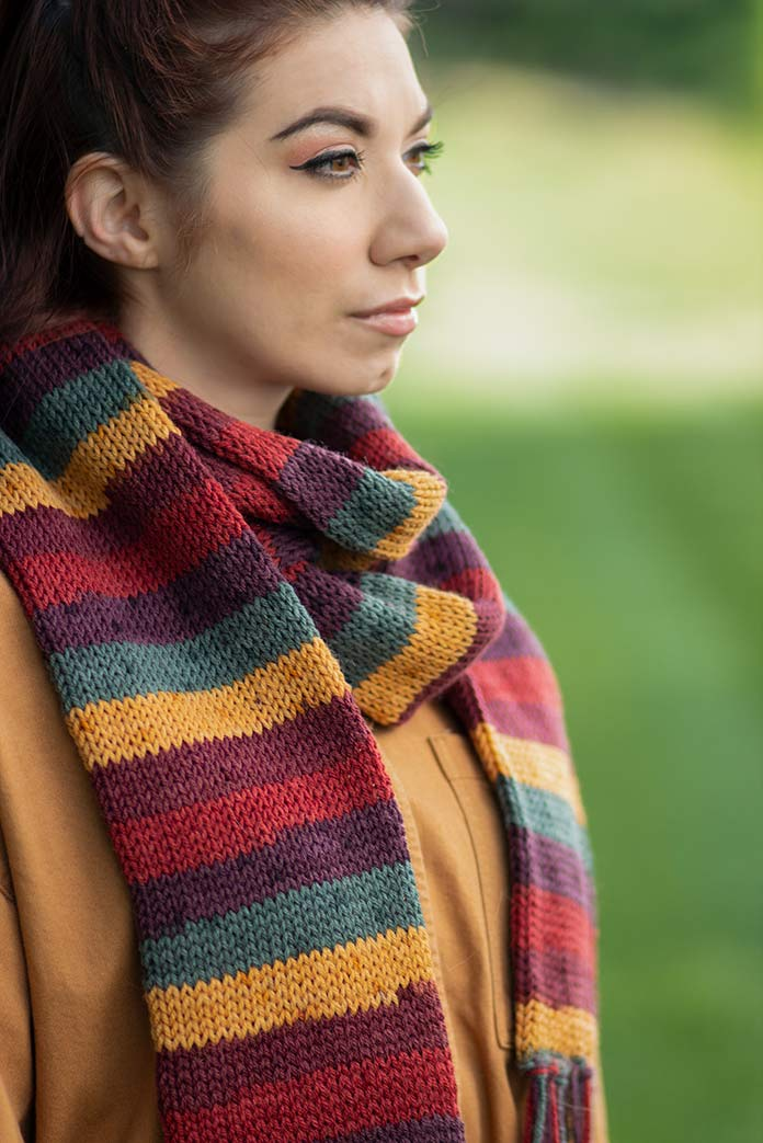 Cornucopia, this muted jewel-tones colorway of Deluxe Stripes is the perfect addition that coordinates with many different neutral tones of coats.