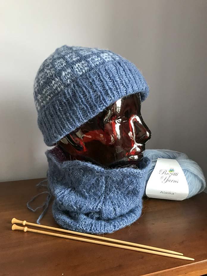 Finished Hat with plaid pattern from the Choux Cowl