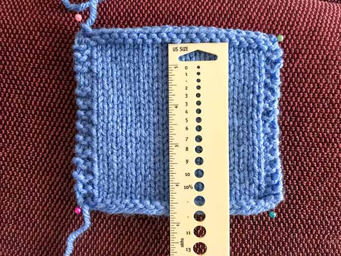 """Making a 4"""" swatch using the recommended needle size for the Cable Sweater Dress pattern"""
