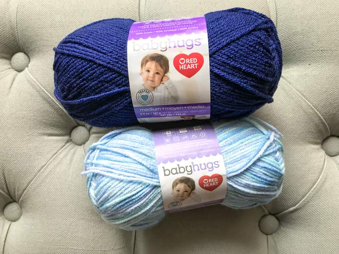 Red Heart Baby Hugs Medium in solid Blueberry, and variegated Daydream