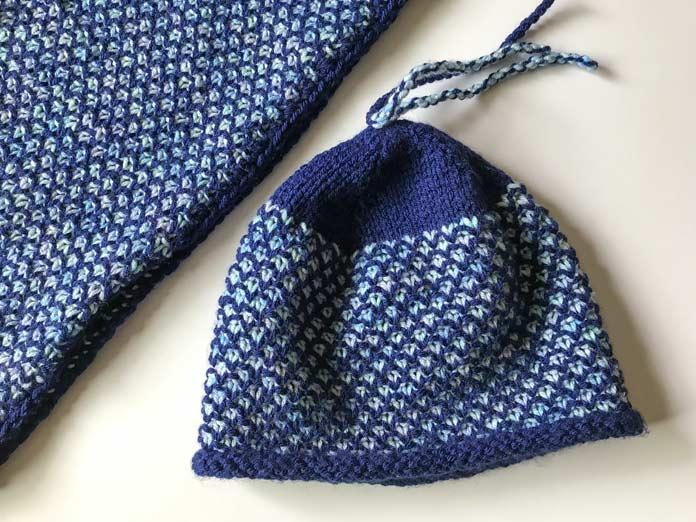 Finished hat embellished with 3 sets of twisted strands