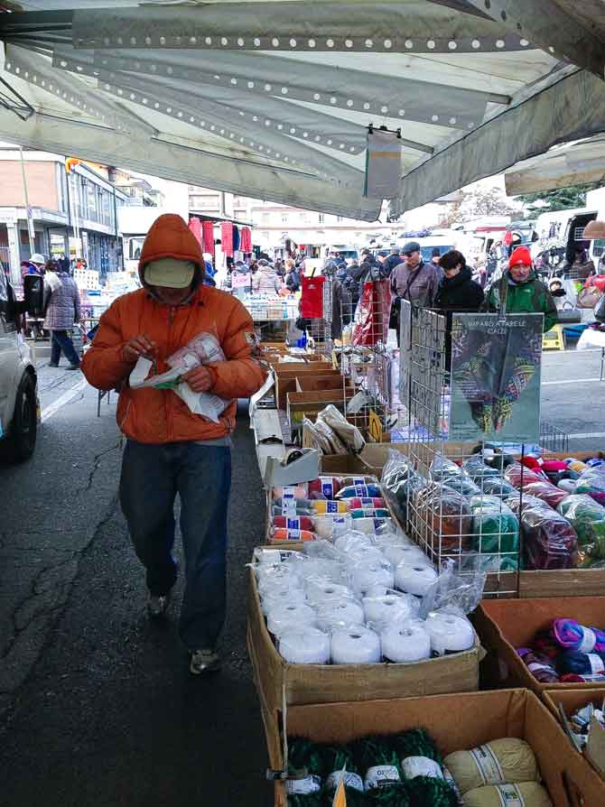 The yarn merchant at the market in Aosta, Italy.
