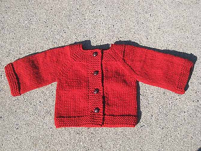 Easy top-down toddler cardigan with raglan sleeves