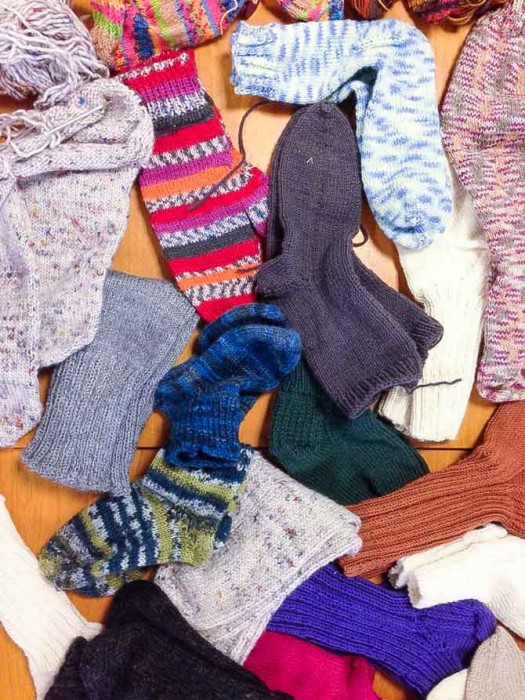 Awesome socks knit up with circular needles by the participants of the class.