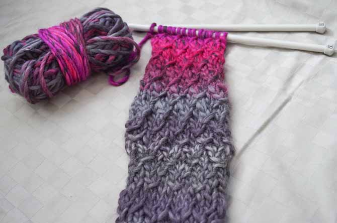 I used several different methods to create lifted-stitch textures in this swatch.