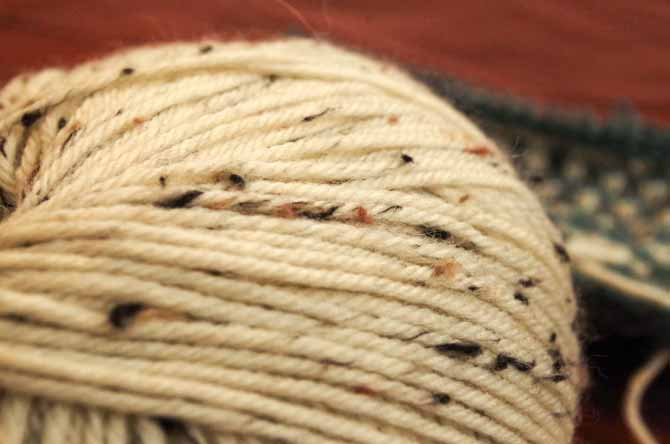 Skein of the off-white Porcelain colorway of Deluxe Worsted Tweed Superwash which has black, camel and taupe flecks.