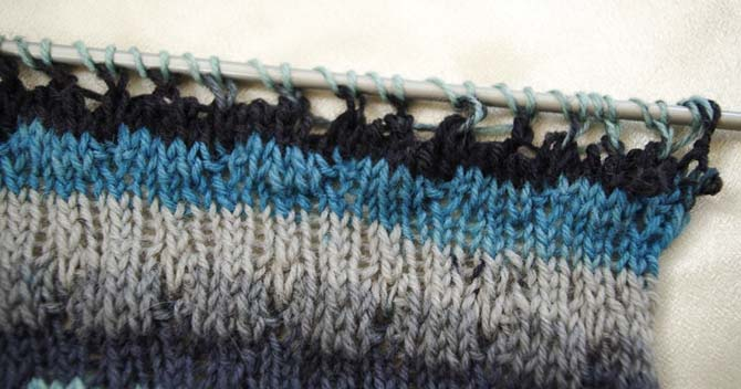 Close-up of swatch of twisted and even stockinette stitches. Using Prose sock yarn in 'Menswear' colorway