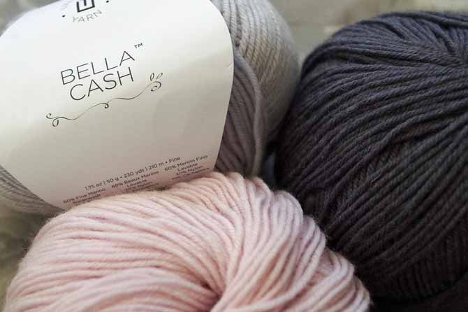 Bella Cash is a cashmere blend that knits up lavishly but at a pocketbook-friendly price.