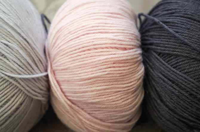 Ice, Blush, and Graphite (from left to right) are true examples of the classic hues in the lovely cashmere blend, Bella Cash.