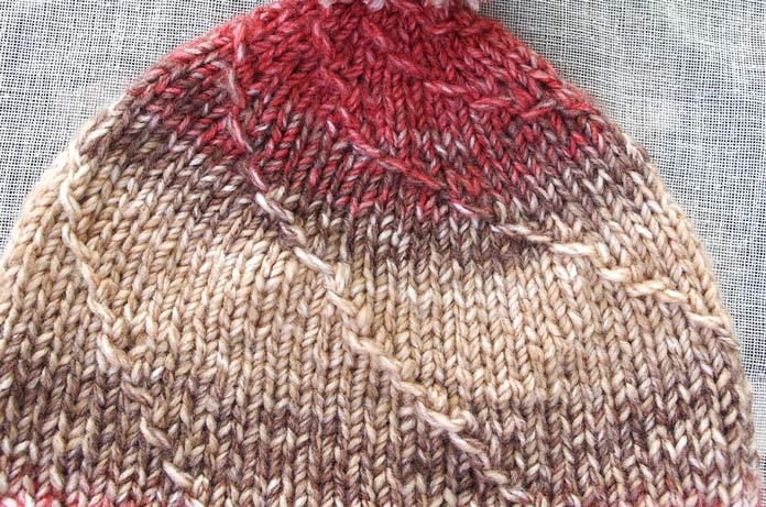 Capped stitches with or without decreasing create a lovely spiral effect when used while knitting in the round.