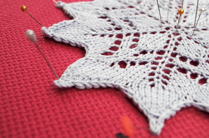 This 12-point snowflake doily starts with 6 stitches.