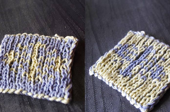 Either side of my snowflake coaster knit with Radiant Cotton yarn.