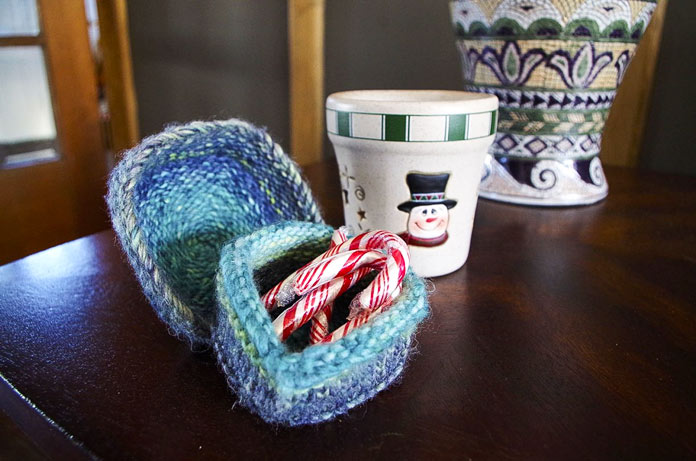 These little knit boxes are perfect for making a holiday treat readily available.
