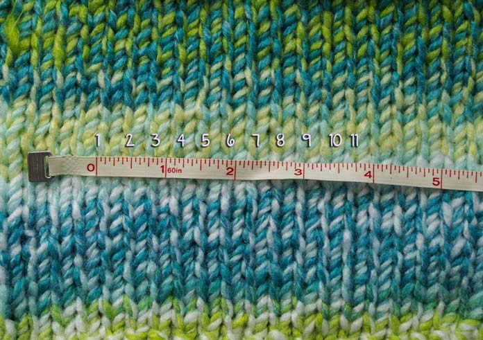 "11 stitches per 4"" is my gauge. I must have been relaxed when I made this swatch on 11 US [8mm] needles"