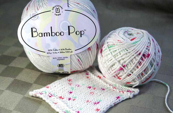The bamboo rayon in this yarn traps the light, giving the stitches a crisp sheen, and great definition.