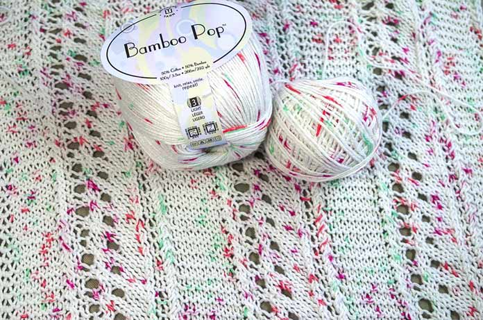 One skein of Bamboo Pop Dots makes this Soothing Blankie that can be machine washed and dried. If you make 2, you'll have one for wash day!