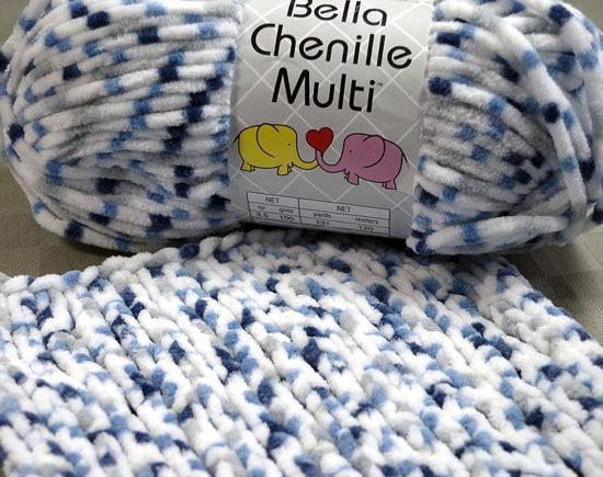 Bella Chenille Multi features a predominant color and two or three complementary colors in dots along the length of the yarn.